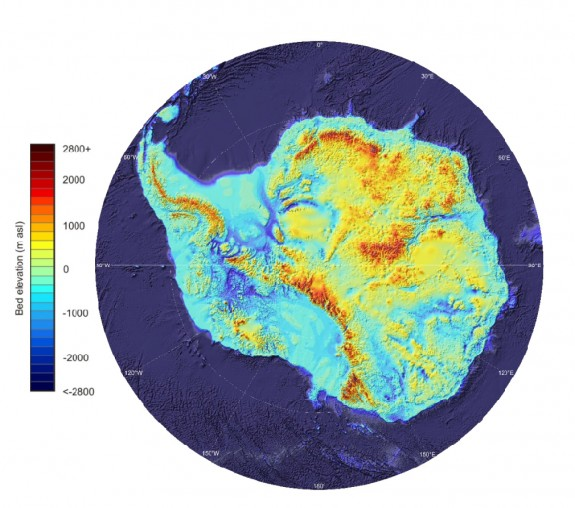 An elevation map of Antarctica.