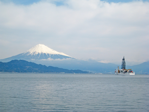 The drilling vessel Chikyu, pictured off the coast of Japan, will be used to drill down to the mantle.