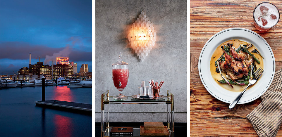 From left: The Domino Sugar Plant, in Inner Harbor, has been in operation for 97 years; a bar cart of complimentary refreshments at the Sagamore Pendry Baltimore; quail with asparagus at Woodberry Kitchen.