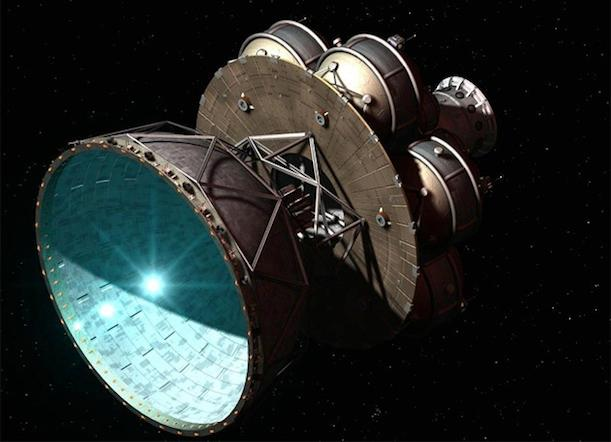 A rendering of the Daedalus star ship