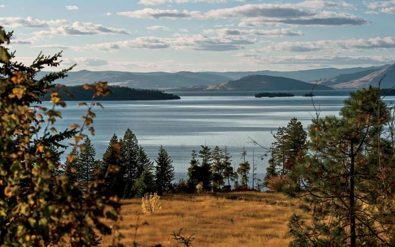 A view of Flathead Lake from its eastern shore, between Finley Point and Yellow Bay.