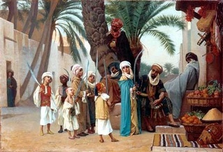 Street scene in a Middle Eastern town during the medieval period.