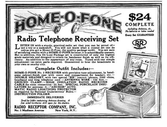"""Advertisement for a """"Home-O-Fone"""" crystal radio"""