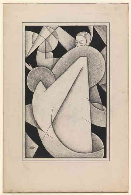 Cubist design of woman wearing a full coat with large fur collar and cuffs, 1927-'28, signed DSD.