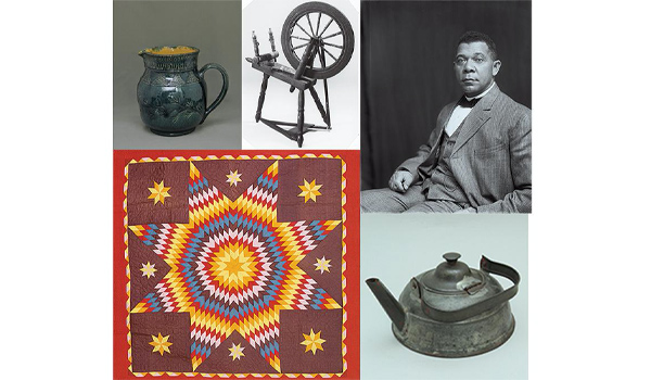 Clockwise from top left, a George Ohr jug; flax spinning wheel, circa 18th century, believed to be from Mount Vernon, George Washington's estate in Virginia, and likely used by enslaved people; Booker T. Washington; iron and tin tea kettle, circa 1900; cotton coverlet quilted in Texas, 19th century.