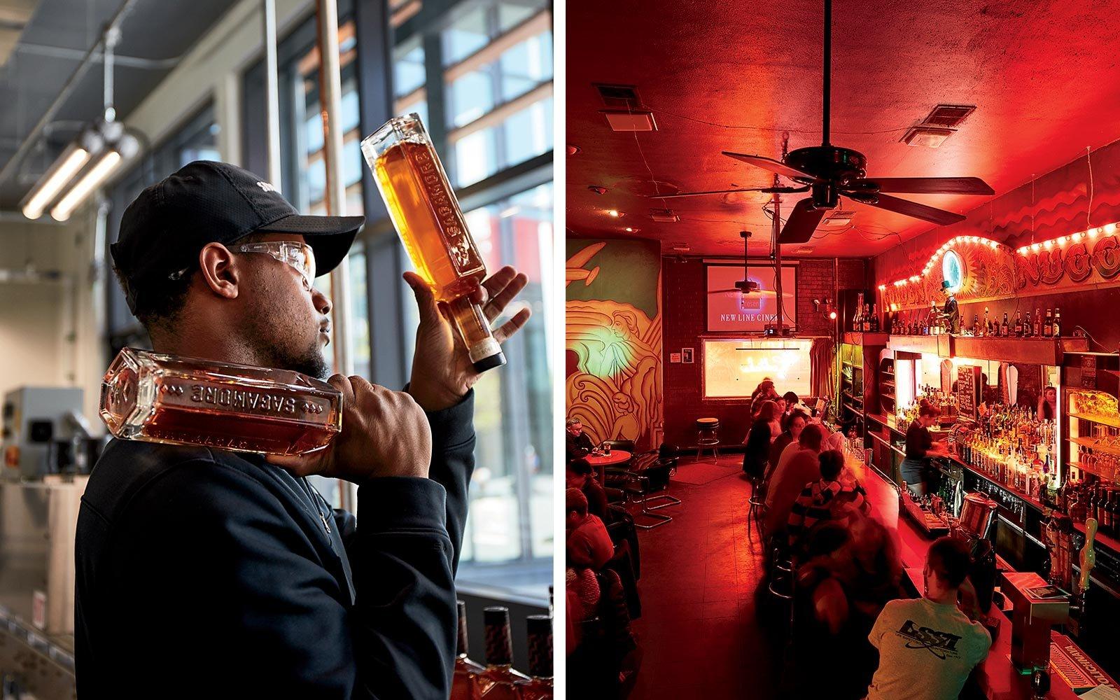 From left: Inside the Sagamore Spirit distillery; the beloved dive bar Club Charles.