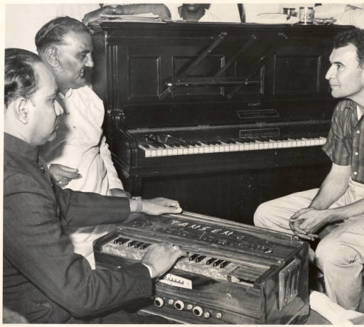 Brubeck (above, with local musicians) traveled to India on a State Department tour in 1958.