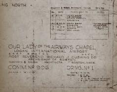 Blueprints for the original Our Lady of the Airways Chapel