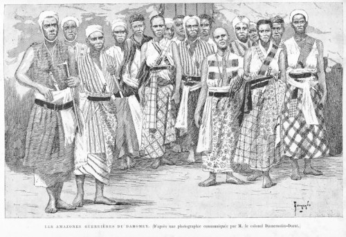 A group of women warriors in traditional dress.