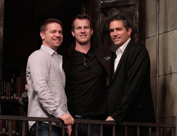 "Greg Plageman, Jonathan Nolan and Jim Caviezel on the set of ""Person of Interest."""